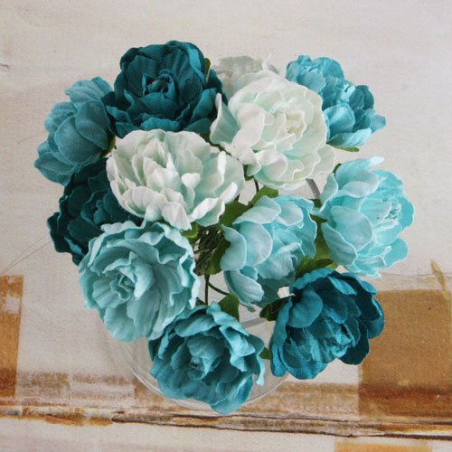 Prima - Serenade Collection - Flower Embellishments - Turquoise