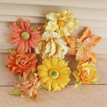Prima - Soubrette Collection - Flower Embellishments - Yellow and Orange