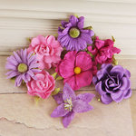 Prima - Soubrette Collection - Flower Embellishments - Pink and Purple
