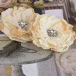 Prima - Bravo Collection - Fabric Flower Embellishments - Cream
