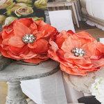 Prima - Bravo Collection - Fabric Flower Embellishments - Orange