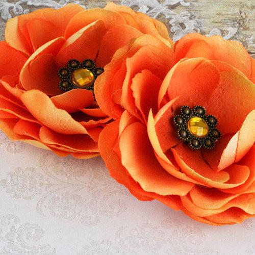 Prima - Aria Collection - Fabric Flower Embellishments - Orange