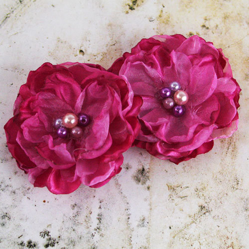 Prima - Banda Collection - Fabric Flower Embellishments - Pink