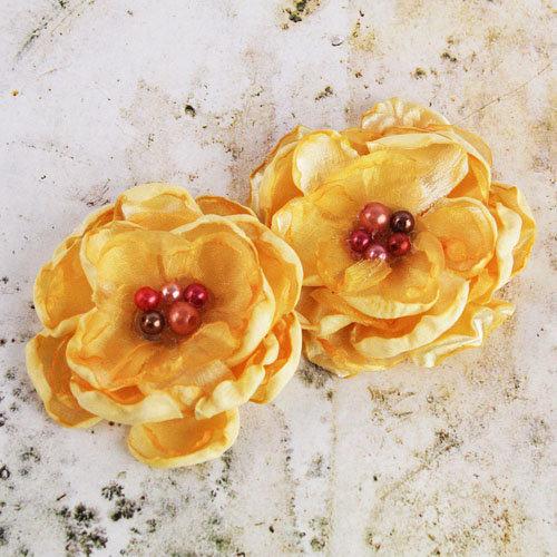 Prima - Banda Collection - Fabric Flower Embellishments - Golden Yellow