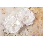 Prima - Banda Collection - Fabric Flower Embellishments - White