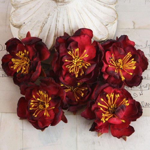 Prima - Bel Canto Collection - Fabric Flower Embellishments - Burgundy