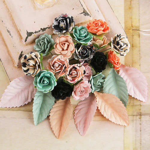 Prima - Perles Collection - Flower and Leaves Embellishments - Rondelle
