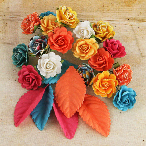 Prima - Perles Collection - Flower and Leaves Embellishments - Zephyr