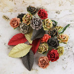 Prima - Perles Collection - Flower and Leaves Embellishments - Tea-Thyme