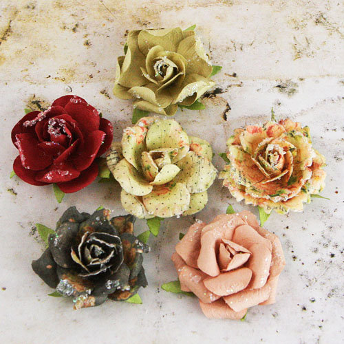 Prima - Timido Collection - Flower Embellishments - Tea-Thyme