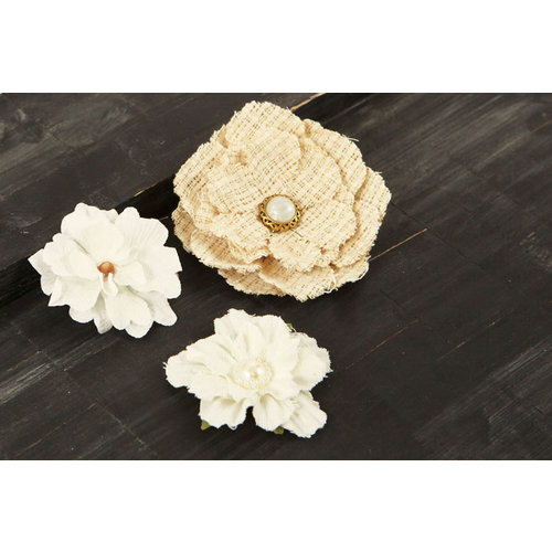 Prima - Au Naturale Collection - Fabric and Paper Flower Embellishments - Mix 3