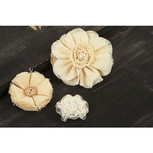 Prima - Au Naturale Collection - Fabric Flower Embellishments - Mix 6