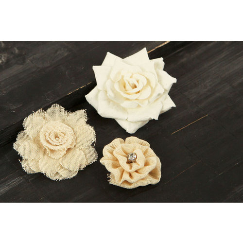Prima - Au Naturale Collection - Fabric and Paper Flower Embellishments - Mix 10