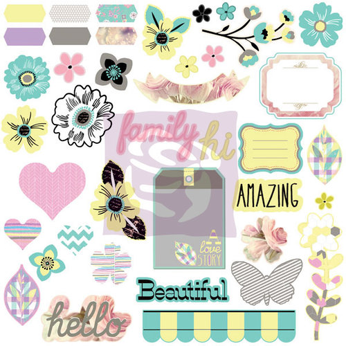 Prima - Hello Pastel Collection - Self Adhesive Chipboard Pieces