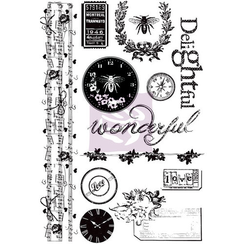 Prima - Lyric Collection - Cling Mounted Rubber Stamps