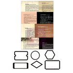 Prima - Sunrise Sunset Collection - Metal Embellishments - Newsprint Mini Frames