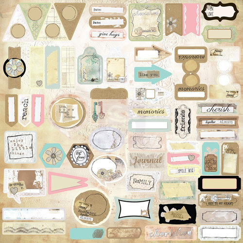 Prima - Lifetime Collection - 12 x 12 Cardstock Stickers - Journaling Spot