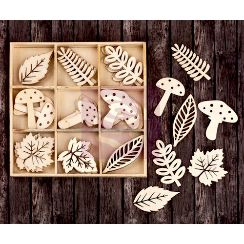 Prima - Wood Icons in a Box - Leaves and Mushrooms