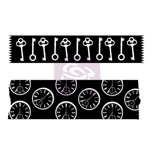 Prima - Wood Mounted Rubber Stamp - Washi Tape - Eight