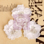 Prima - Lady Bird Collection - Fabric Flower Embellishments - White