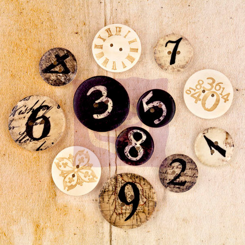 Prima - Engraver - Wood Embellishments - Buttons