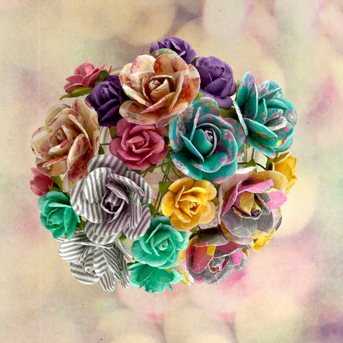 Prima - Hello Pastel Collection - Flower Embellishments - Mini Rose Stems