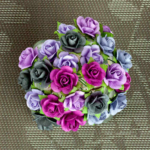 Prima - Mini Sachet Collection - Flower Embellishments - Plum