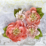 Prima - Tatiana Collection - Flower Embellishments - Coral