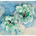 Prima - Odette Collection - Flower Embellishments - Aqua