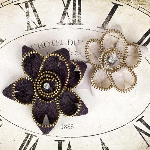 Prima - Sunrise Sunset Collection - Fabric Flower Embellishments - Zipper Flower - Three