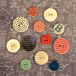 Prima - School Memories Collection - Wood Embellishments - Buttons