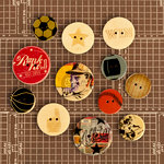 Prima - Allstar Collection - Wood Embellishments - Buttons