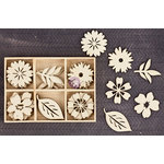 Prima - Wood Icons in a Box - Flowers and Leaves - 2