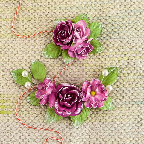 Prima - Winthrop Collection - Flower Embellishments - Garnet