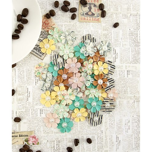 Prima - Coffee Break Collection - Flower Embellishments - Cafe Mocha