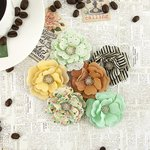 Prima - Coffee Break Collection - Flower Embellishments - Espresso