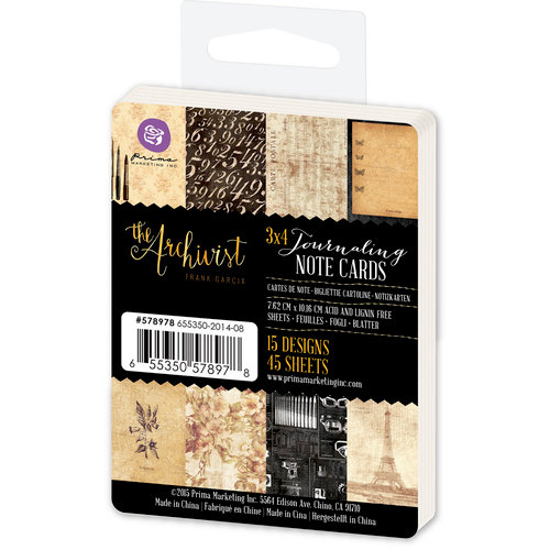 Prima - The Archivist Collection - 3 x 4 Journaling Note Cards
