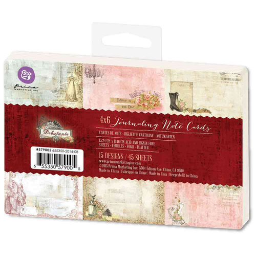 Prima - Debutante Collection - 4 x 6 Journaling Note Cards
