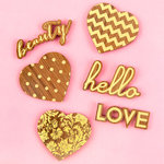 Prima - Wood Icons with Gold Foil Accents - Hearts and Phrases