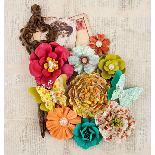 Prima - Bella Rouge Collection - Flower Embellishments - Nora