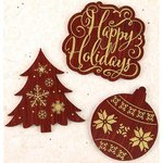 Prima - A Victorian Christmas Collection - Wood Embellishments - Words