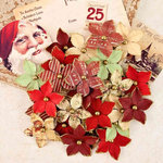 Prima - A Victorian Christmas Collection - Flower Embellishments - Christmas Eve