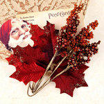 Prima - A Victorian Christmas Collection - Flower Embellishments - Midnight Kiss