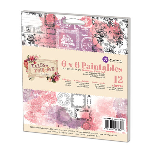 Prima - Tales of You and Me Collection - 6 x 6 Paintables Pad
