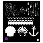 Prima - French Riviera Collection - Stencil Mask - 6 x 6 - Anchor and Shell