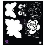 Prima - Tales of You and Me Collection - Stencil Mask - 6 x 6 - Flowers and Butterfly
