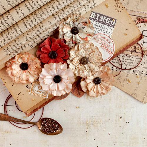 Prima - Vintage Emporium Collection - Flower Embellishments - Bordeaux