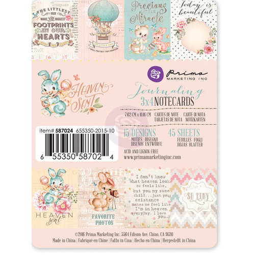 Prima - Heaven Sent Collection - 3 x 4 Journaling Cards