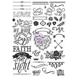 Prima - Love Faith Scrap Collection - Cling Mounted Rubber Stamps - Elements