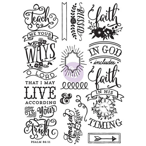 Prima - Love Faith Scrap Collection - Cling Mounted Rubber Stamps - Quote